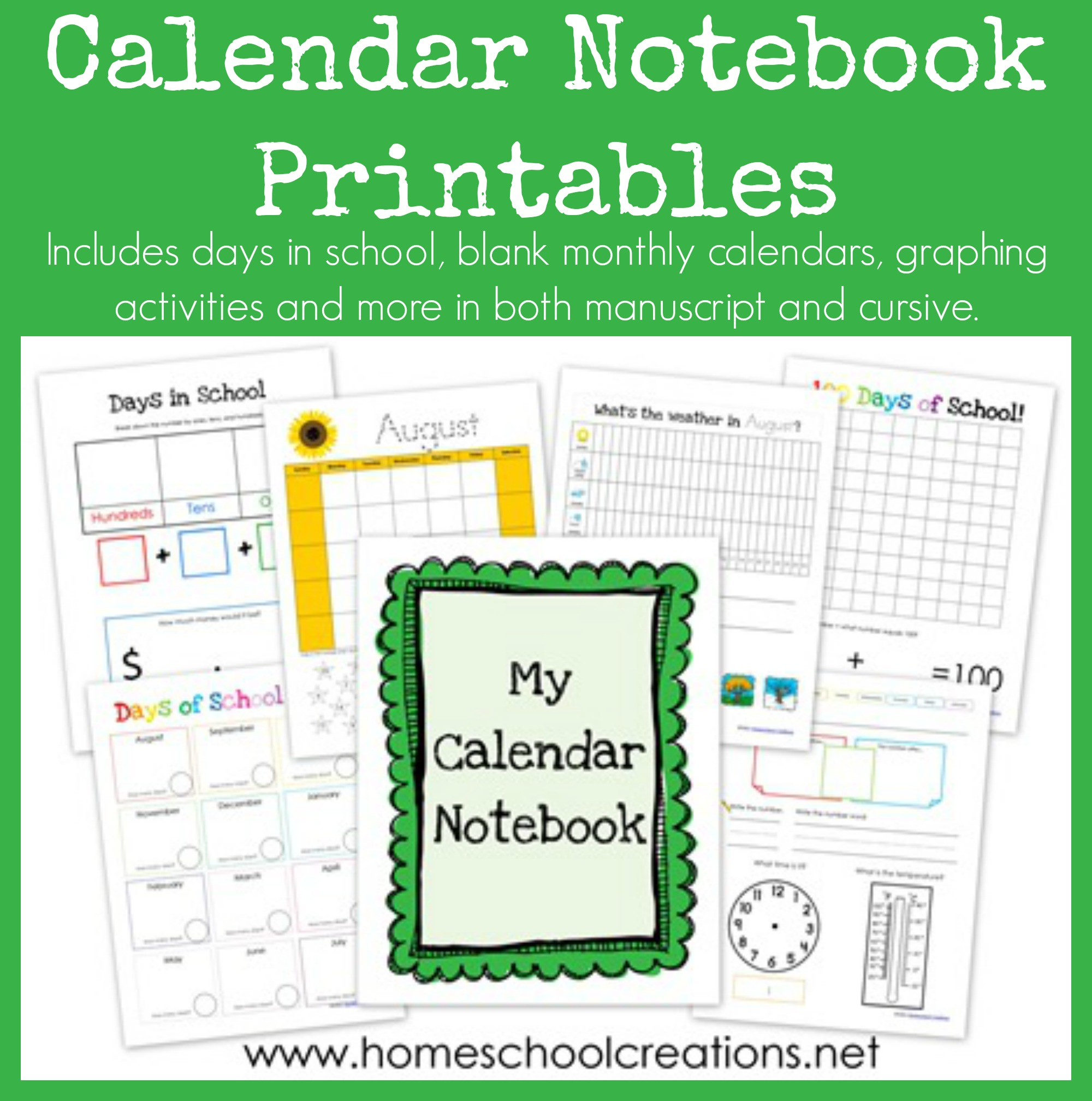 Daily Calendar Journal Kindergarten : Calendar notebook binder printables