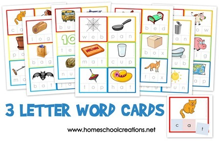 3 Letter Word Cards - 42 CVC words for spelling and reading