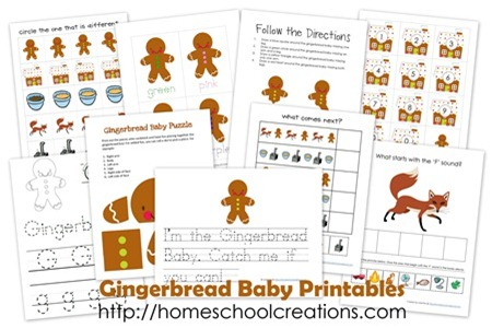 Gingerbread Baby printables for Preschool and Kindergarten