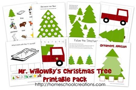 Mr Willowby's Christmas Tree printables for preschool and kindergarten