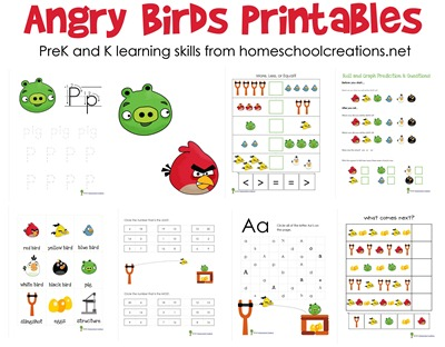 angry birds printables homeschool