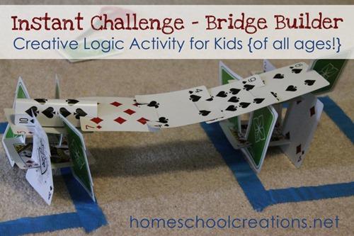 Building Bridges Instant Challenge - a fun, creative logic activity for kids - homeschoolcreations.net