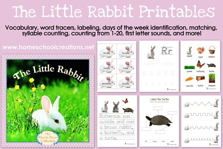 Little Rabbit Printables - go along printables for the story The Little Rabbit by Judy Dunn from homeschoolcreations.net