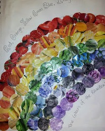 rainbow made from seed packets