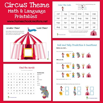 Circus Theme Math and Language Printables