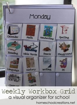 Weekly Workbox Grid - visual organizer for homeschool copy