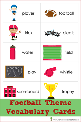 Football Vocabulary Cards for Read! Build! Write! Mats