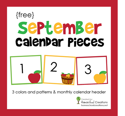 September Calendar Numbers free printable from Homeschool Creations