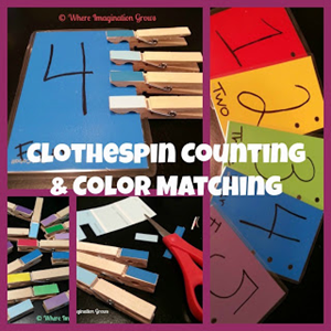 Clothespin Counting and Color Matching