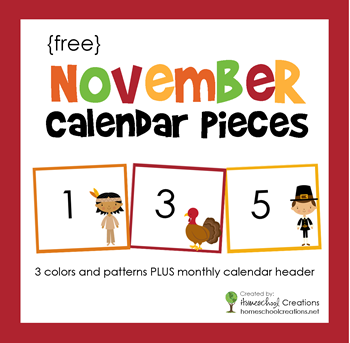 November Pocket Chart Calendar Pieces