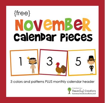 November Pocket Chart Calendar Pieces