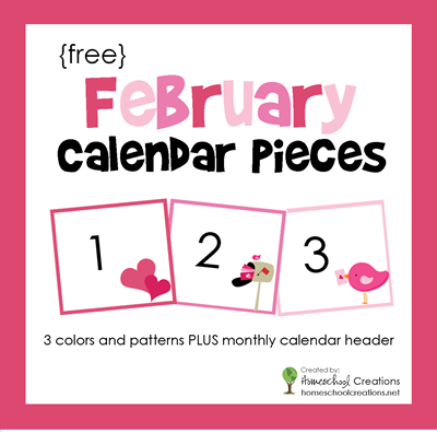 February pocket chart calendar pieces from Homeschool Creations
