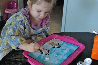 Preschool art - Penguin potato prints