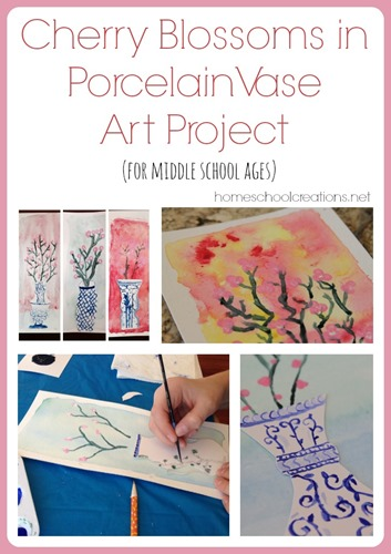 Cherry Blossom in Porcelain Vase art project from Homeschool Creations