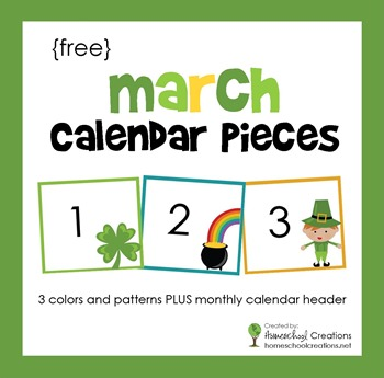 March pocket chart calendar pieces from homeschoolcreations.net