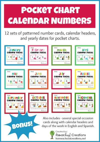Yearly pocket chart calendar numbers from Homeschool Creations copy