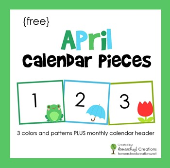 April pocket chart calendar pieces from homeschoolcreations.net