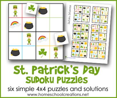St Patrick's Day sudoku puzzles