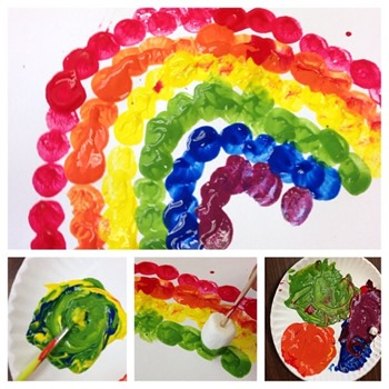 Rainbow marshmallow painting