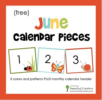 June pocket chart calendar pieces from homeschoolcreations.net