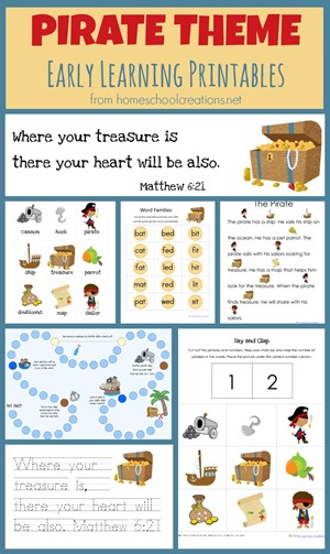 Pirate theme printables for preschool and kindergarten