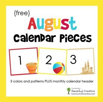 August pocket calendar pieces from homeschoolcreations.net