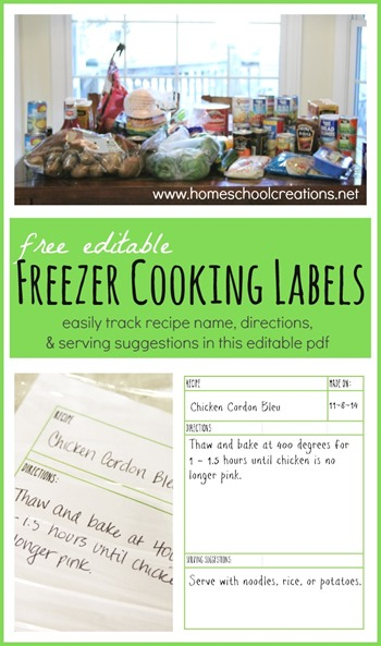 FREE freezer cooking labels | homeschoolcreations.net