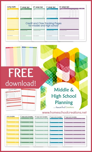 Middle and high school planning printables