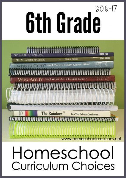 6th grade homeschool curriculum choices 2016 from Homeschool Creations