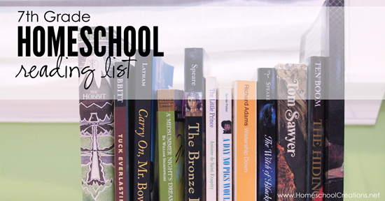 Our 7th Grade Homeschool Reading List  |7th Grade Heading