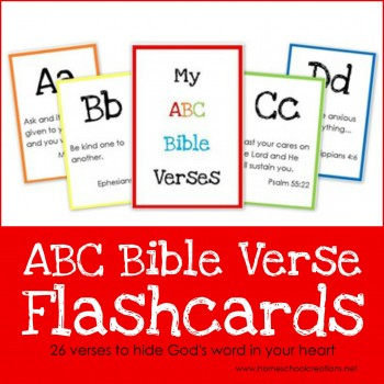 ABC Bible verse flashcards - 26 verses to hide God's word in your child's heart - Homeschool Creations