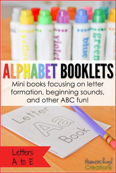 Alphabet booklets for preschool and kindergarten - letters A to E printable set from Homeschool Creations