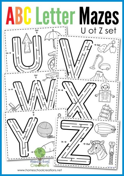 Alphabet letter maze set from U to Z - free printable set from Homeschool Creations