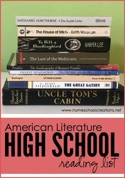 American Literature High School Reading List 2016 on Pocket Chart Holiday Special Occasion Calendar Cards
