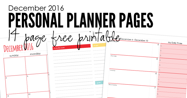 December 2016 personal planning pages from Homeschool Creations