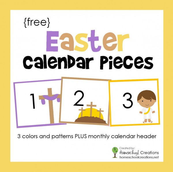 Easter pocket chart calendar pieces - 3 colors and patterns with monthly calendar headers