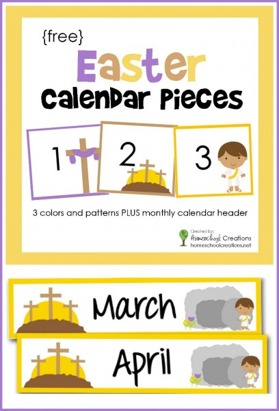 Easter pocket chart calendar pieces - a free printable with 3 colors and patterns with 2 monthly calendar headers