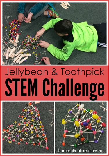 Jellybean and toothpick STEM challenge - building a structure that supports weight