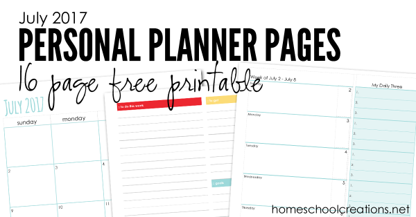 July personal planner pages from Homeschool Creations