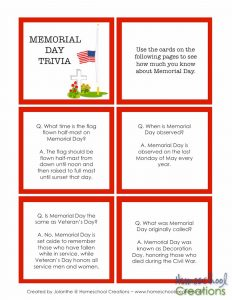 Memorial Day printables from Homeschool Creations-4