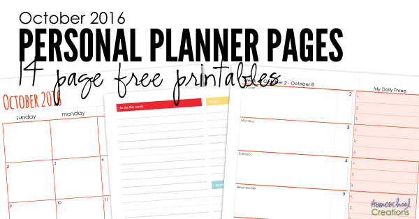 October 2016 planning pages - 14 free pages to plan the month of October