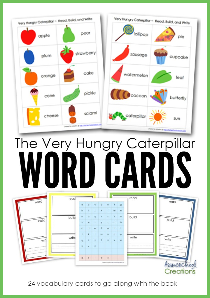 The Very Hungry Caterpillar Word Cards Free Printable