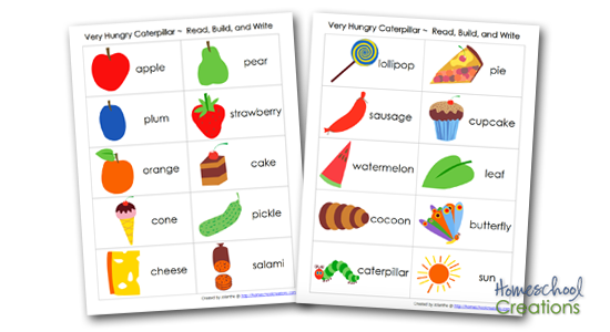 vocabulary cards for The Very Hungry Caterpillar by Eric Carle