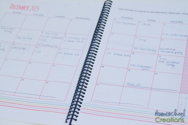 Yearly Planner example from Homeschool Creations-10