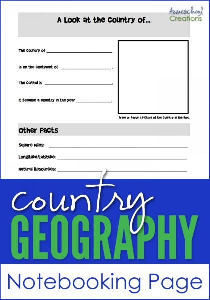 country geography notebooking page