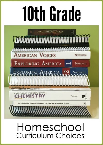 10th grade homeschool curriculum choices from Homeschool Creations 2016