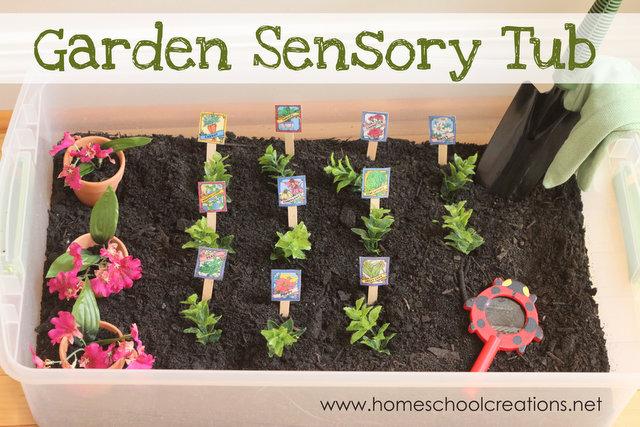 Garden themed sensory tub
