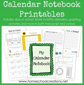 Calendar Notebook Printables free