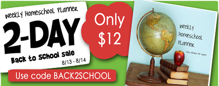 Homeschool Planner Sale August 2012