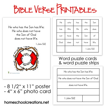 Elementary Bible Verse Printables